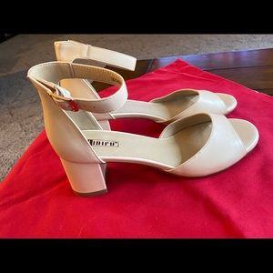 Women's cream sandal with ankle strap